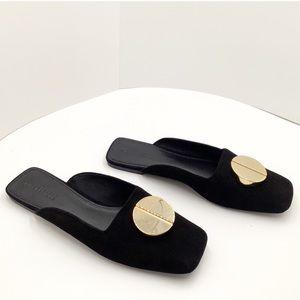 "{Mercedes Castillo} Black/Gold Leather Mules""NWOT"""